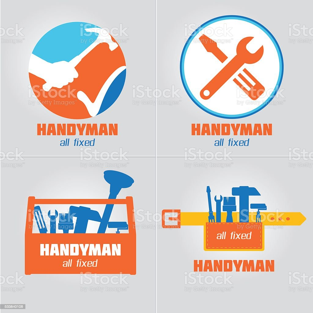 handyman business sign vector set stock vector art more images of