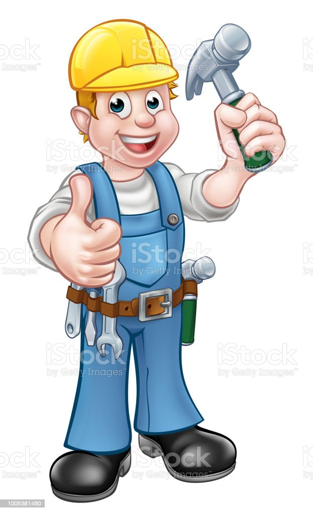 Handyman Carpenter Cartoon Character With Hammer Stock