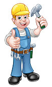 Handyman Carpenter Cartoon Character With Hammer