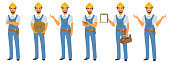 Set of Handyman Character Poses