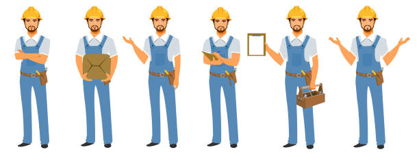 handyman character - adults only stock illustrations