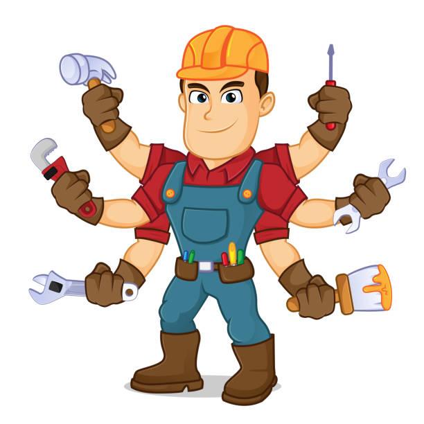 illustrazioni stock, clip art, cartoni animati e icone di tendenza di handyman holding mutiple tools - mechanic