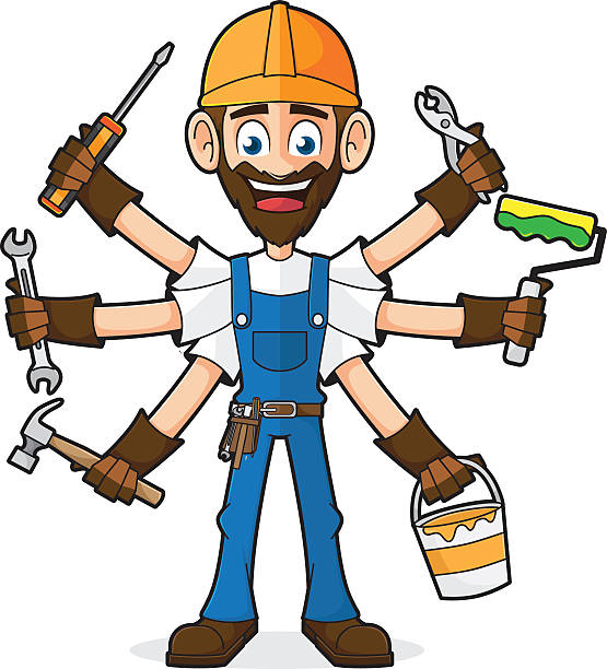 handyman holding tools - mechanic stock illustrations, clip art, cartoons, & icons