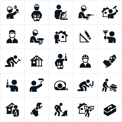 A set of handyman icons. The icons show different repairs and building performed by handymen. Many of the handymen are using tools to accomplish these tasks.