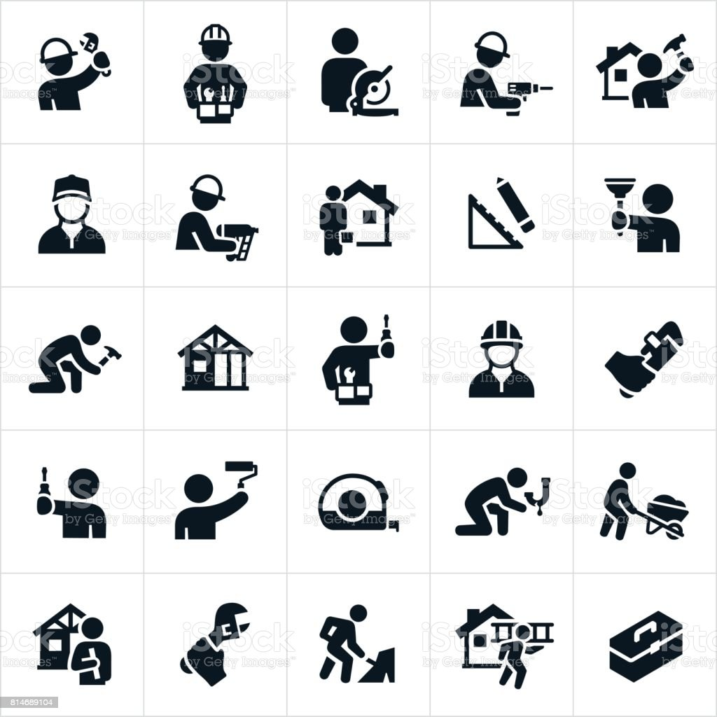 Handyman Icons vector art illustration
