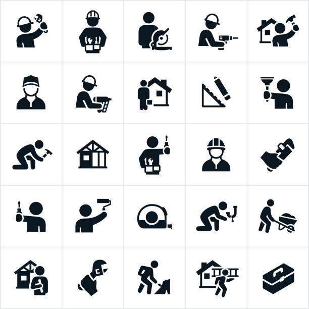 handyman icons - plumber stock illustrations, clip art, cartoons, & icons