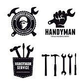 Handyman labels badges emblems and design elements. Carpentry related vector