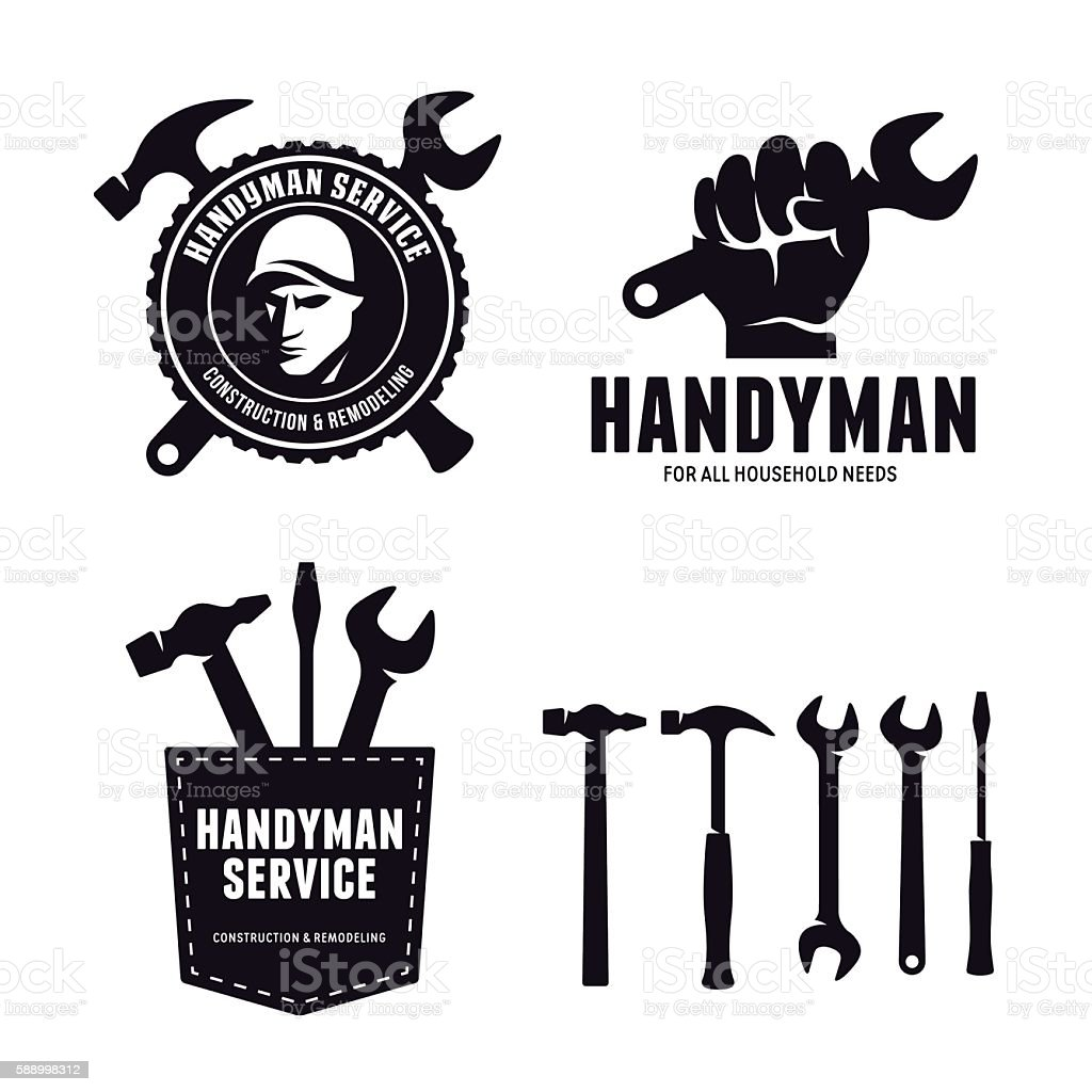 Handyman labels badges emblems and design elements. Carpentry related vector – Vektorgrafik