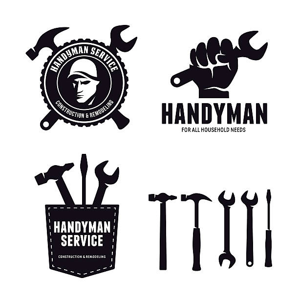ilustrações, clipart, desenhos animados e ícones de handyman labels badges emblems and design elements. carpentry related vector - consertador
