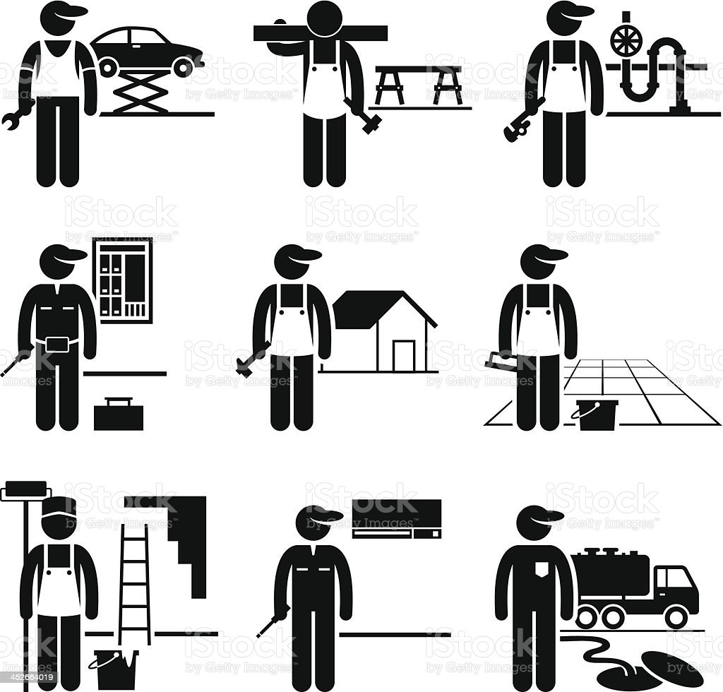 Handyman Labor Labour Skilled Jobs Occupations Careers vector art illustration