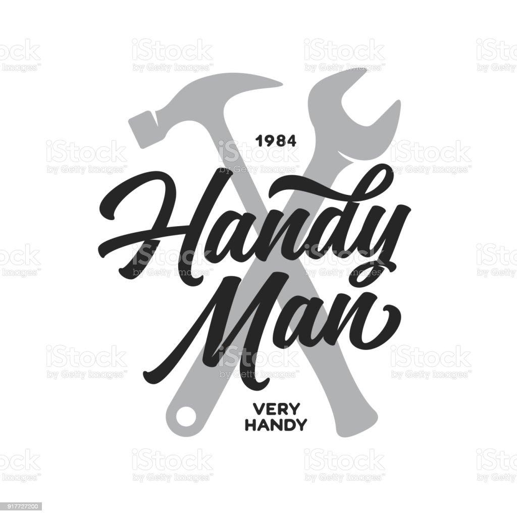 Emblema de rotulação de faz-tudo. Carpintaria relacionados ao design de t-shirt. Ilustração em vetor vintage. - ilustração de arte em vetor