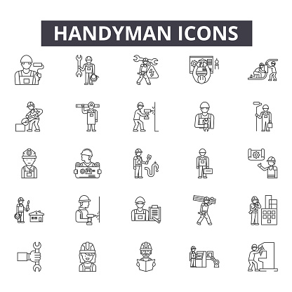 Handyman line icons for web and mobile design. Editable stroke signs. Handyman  outline concept illustrations