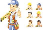 Vector illustration of handyman, construction worker, or Repairman holding level.