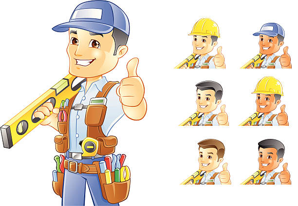 handyman, repairman, construction worker with level - mechanic stock illustrations, clip art, cartoons, & icons