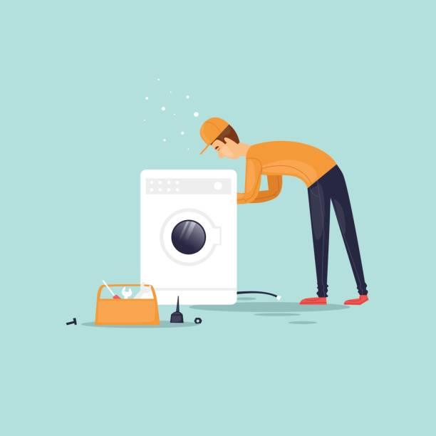 Handwerker repariert die Waschmaschine. Vektor-Illustration flachen Stil. – Vektorgrafik