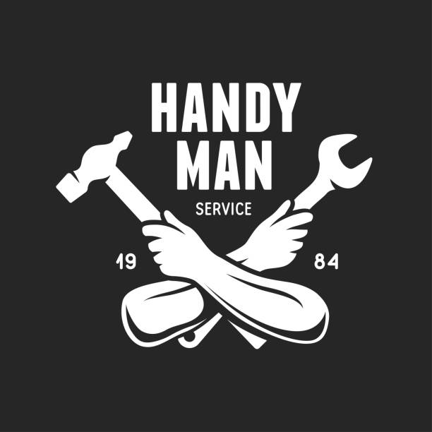 handyman service label. carpentry related vector vintage illustration. - mechanic stock illustrations, clip art, cartoons, & icons