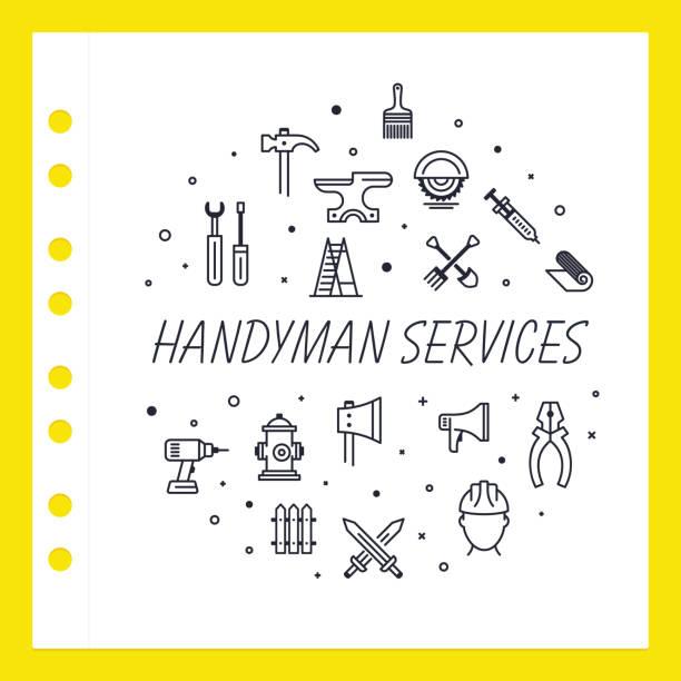 illustrations, cliparts, dessins animés et icônes de handyman services - logo peintre en batiment