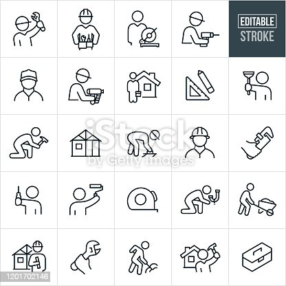 A set of handyman icons that include editable strokes or outlines using the EPS vector file. The icons include handymen accomplishing different work tasks. They include a handyman holding a wrench, handyman with tool belt, person using a drill, builder using a nail-gun, person holding a toolbox, person holding a plunger, handyman using a hammer, new construction of a home, worker using a trowel, hand holding a pipe wrench, workers wearing hard hats, a person using a paint roller, tape measure, person fixing a leaky pipe, person pushing a wheel barrow, person shoveling dirt and a toolbox to name just a few.