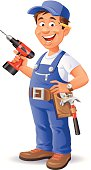 A happy handyman in blue overalls holding a drill. EPS 8, grouped and labeled in layers.
