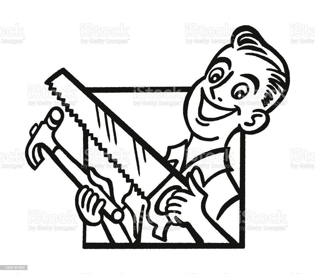 Handyman With Hammer And Saw Stock Vector Art & More ...