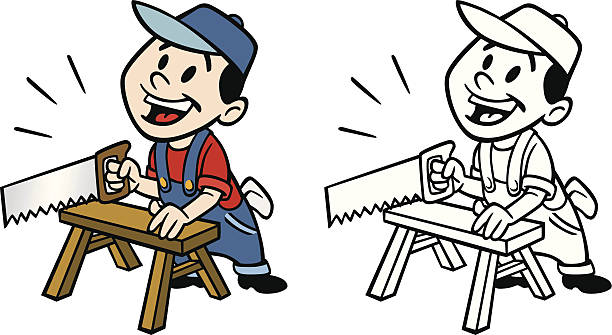 handyman with saw - carpenter stock illustrations, clip art, cartoons, & icons