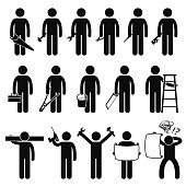 A set of human pictogram representing a handyman holding saw, hammer, spanner, pliers, screwdriver, wrench, toolbox, bucket, ladder, wooden piece, drill, and a blueprint document.