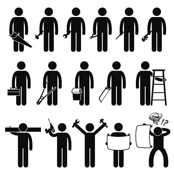 Manitas de los trabajadores con las herramientas de trabajo de bricolaje Stick Figura Pictograma iconos - ilustración de arte vectorial