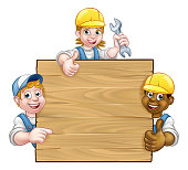A background or sign with handyman, construction workers etc