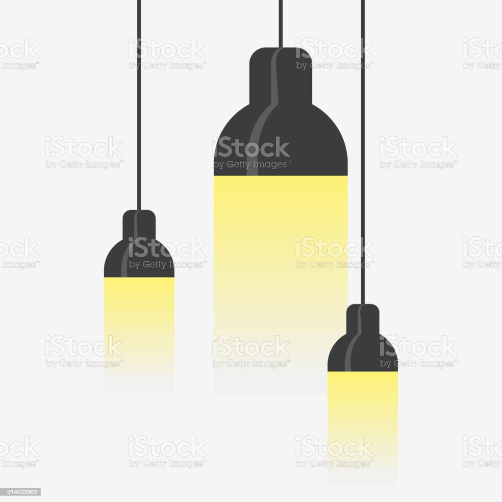Hang ceiling cone lamp set vector art illustration