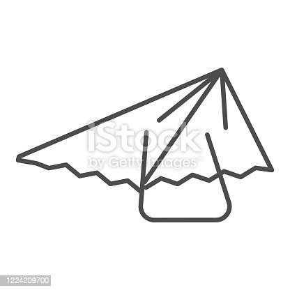 Hang glider thin line icon, extreme sport activity symbol, paragliding vector sign on white background, hang-glider icon in outline style for mobile concept and web design. Vector graphics