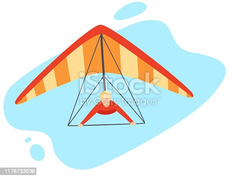 Character hang gliders in the open air.The hang glider has red and orange stripes. Man wearing red shirt. Extreme paragliding experience.