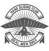 Hang gliding club emblem template. Design element for  label, emblem, sign. Vector illustration