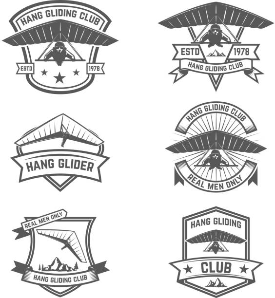 ilustrações de stock, clip art, desenhos animados e ícones de hang gliding club emblems. design elements for label, badge, sign. vector illustration - parapente