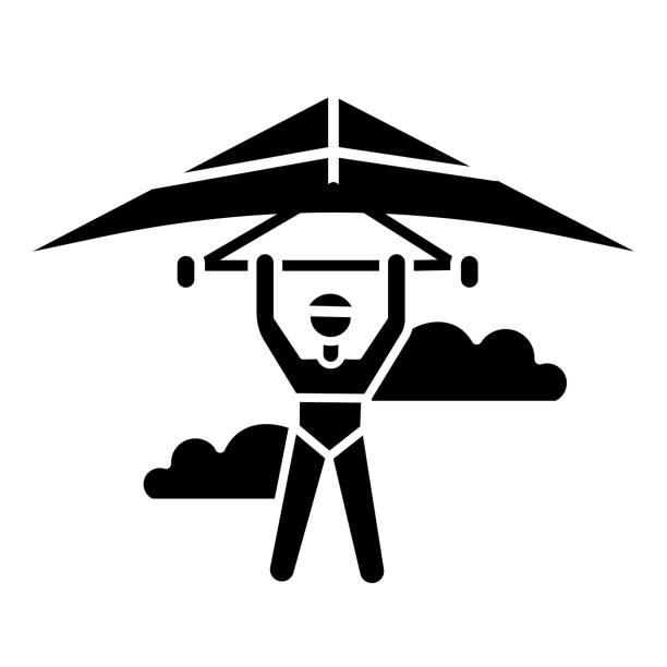 ilustrações, clipart, desenhos animados e ícones de ícone de glifo de asa delta. piloto de asa delta voando. esporte aéreo extremo. acrobacia de pára-quedismo. adrenalina voa no céu. truque de parapente. símbolo da silhueta. espaço negativo. ilustração isolada vetorial - ícones de design planar