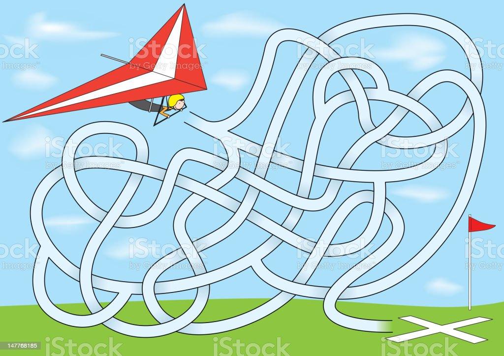 Hang gliding maze vector art illustration