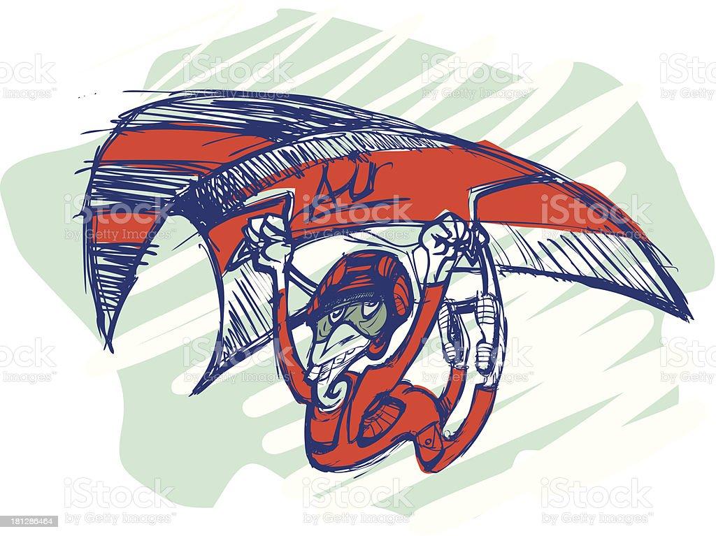 Hang gliding vector art illustration