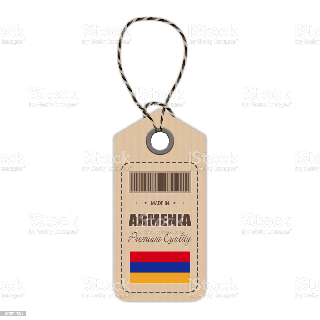 Hang Tag Made In Armenia With Flag Icon Isolated On A White Background. Vector Illustration vector art illustration