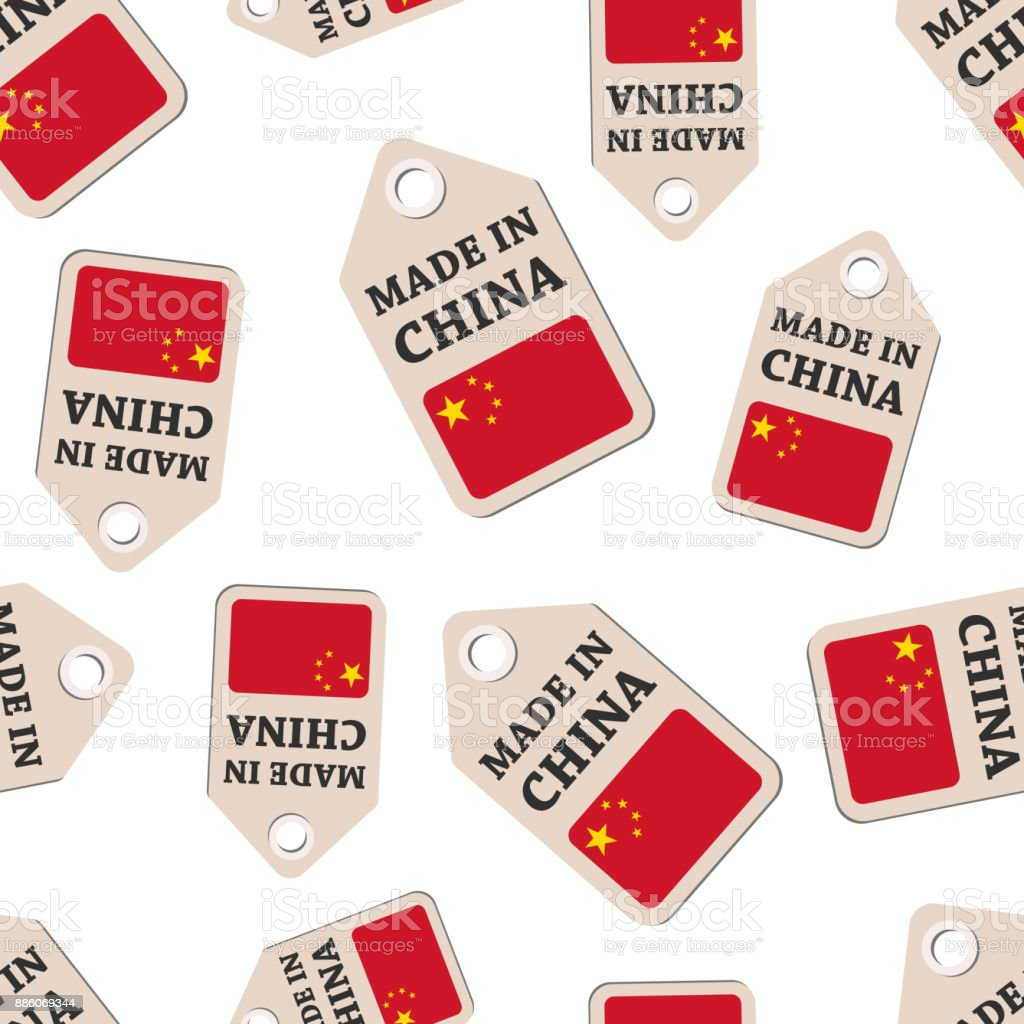 Hang tag made in China sticker with flag seamless pattern background. Business flat vector illustration. Made in China sign symbol pattern. vector art illustration