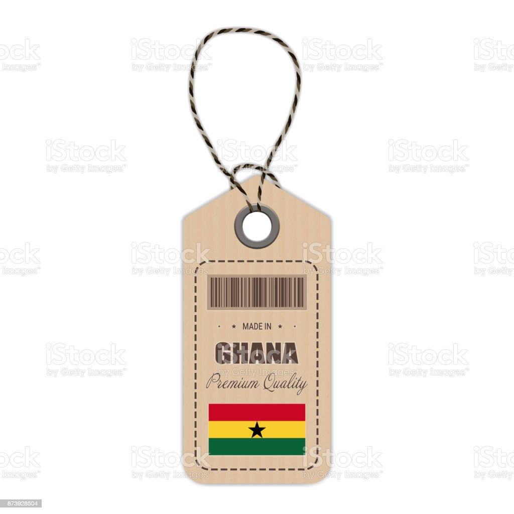 Hang Tag Made In Ghana With Flag Icon Isolated On A White Background. Vector Illustration vector art illustration