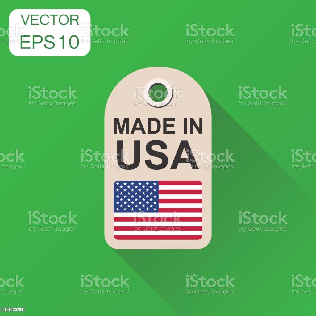 Pendure a etiqueta feita nos EUA com o ícone de bandeira. Manufactued conceito de negócio nos EUA. Ilustração vetorial sobre fundo verde com sombra longa. - ilustração de arte em vetor