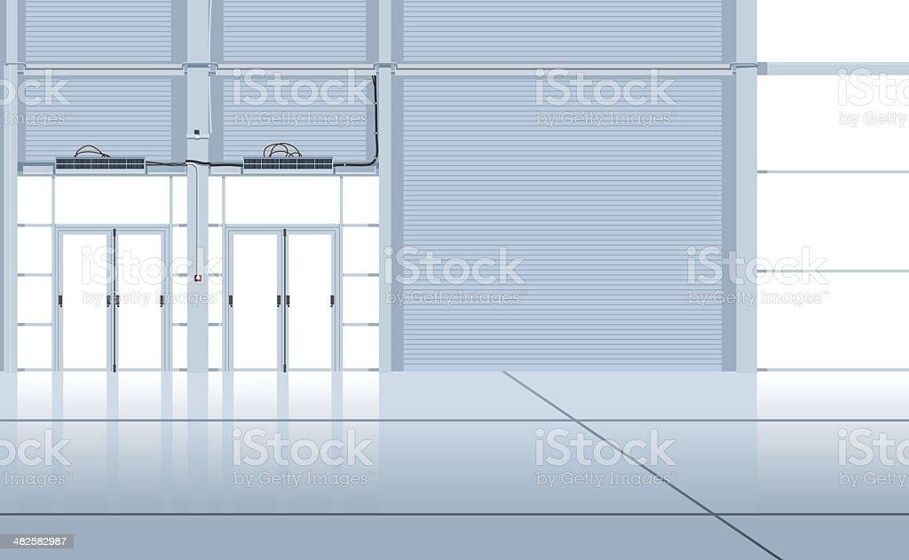 hangar interior. vector art illustration