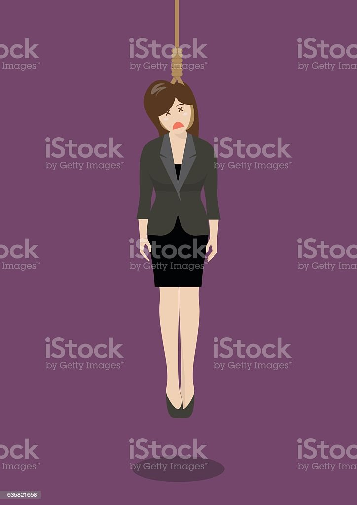 Hanged business woman vector art illustration