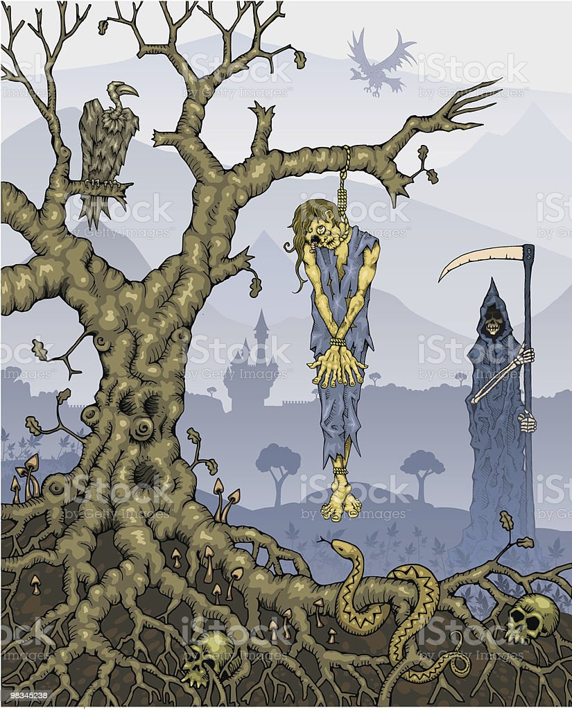 Hanged Corpse on Tree with Grim Reaper in Background royalty-free hanged corpse on tree with grim reaper in background stock vector art & more images of adult