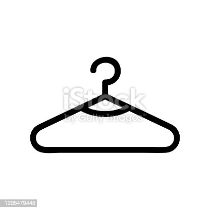 Hanger clothing icon vector. Thin line sign. Isolated contour symbol illustration