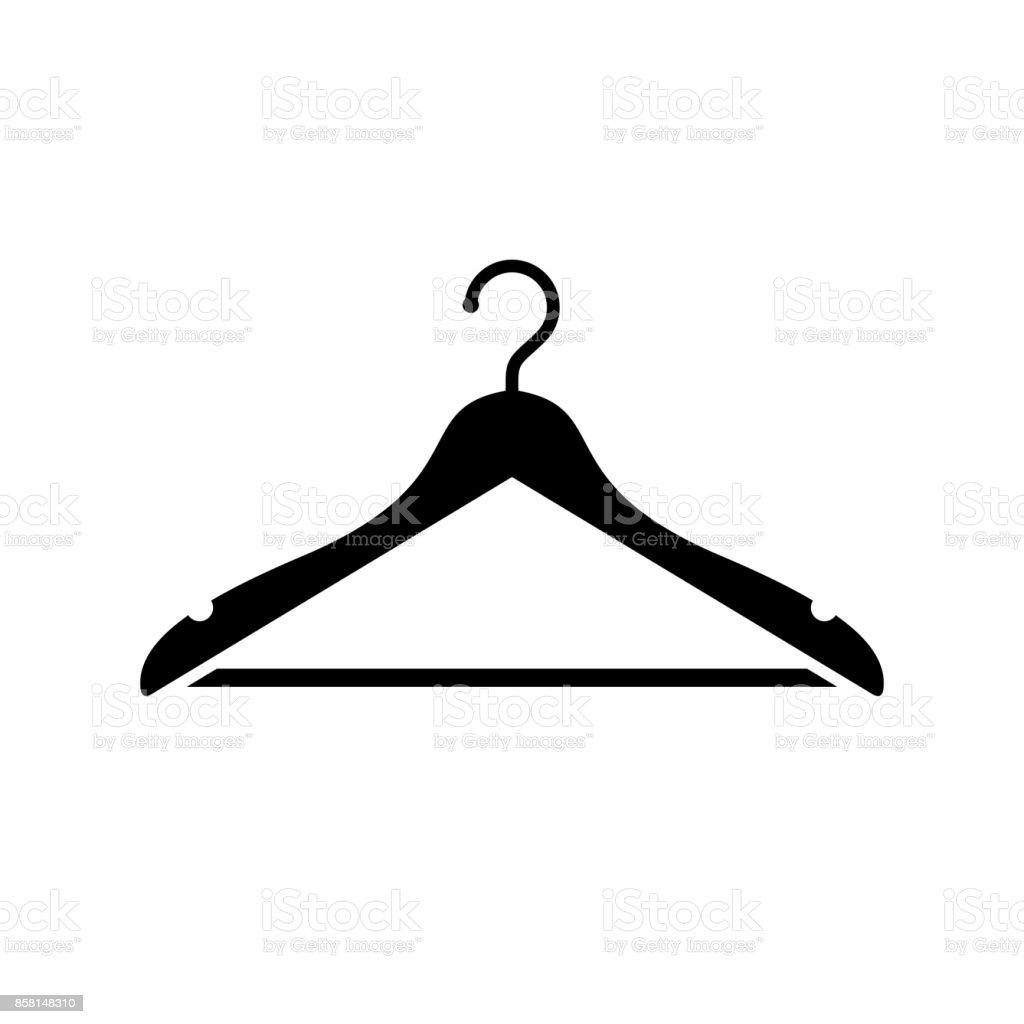 Hanger icon. Black, minimalist icon isolated on white background.