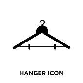 Hanger icon vector isolated on white background, logo concept of Hanger sign on transparent background, black filled symbol