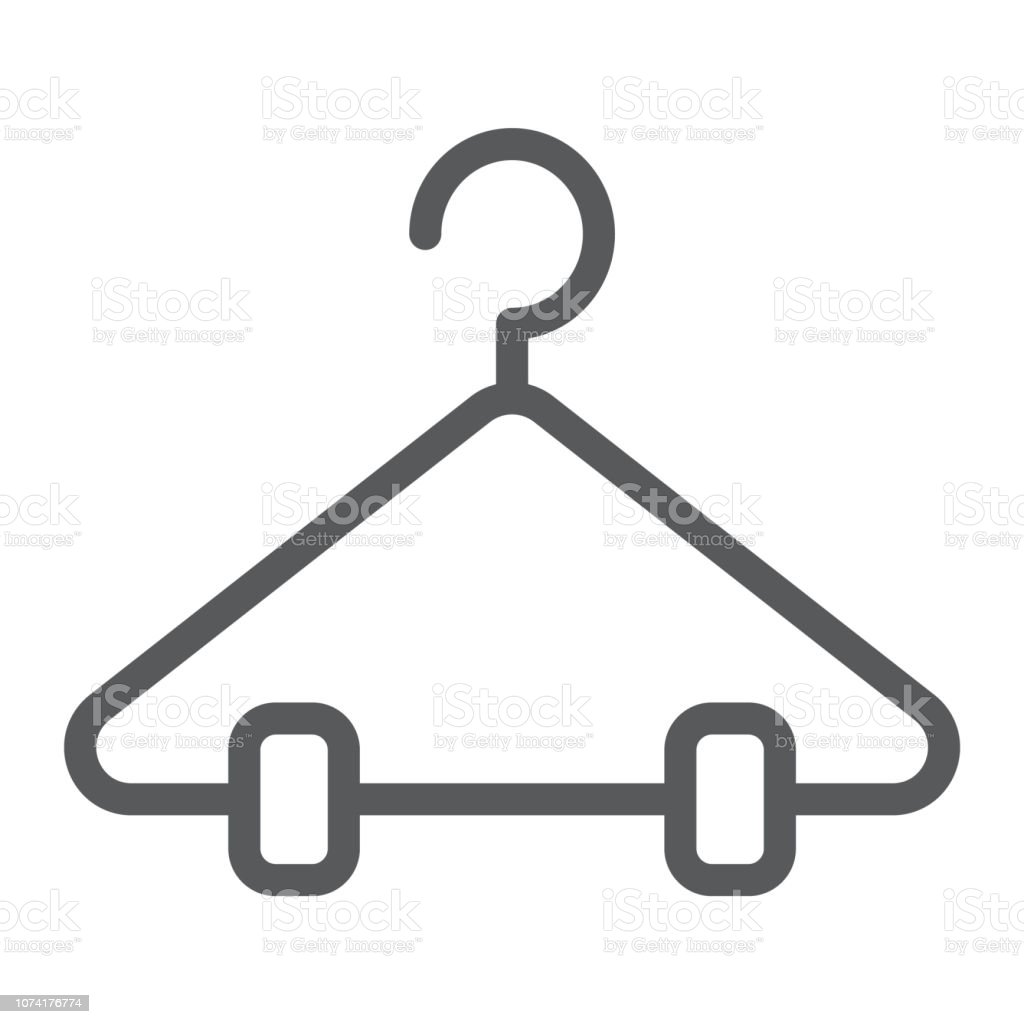 Hanger line icon, closet and wardrobe, rack sign, vector graphics, a linear pattern on a white background. vector art illustration