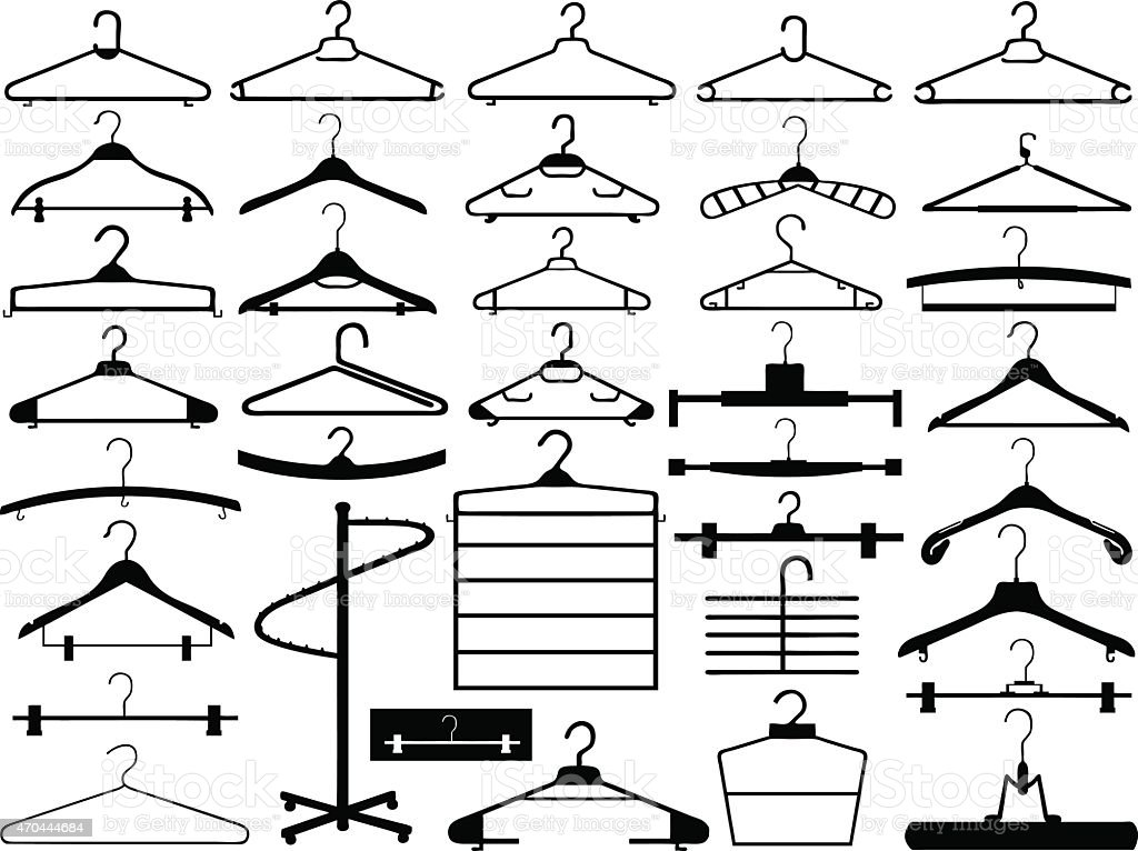 Hanger set vector art illustration
