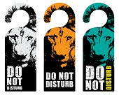 hanger sign do not disturb with lion background
