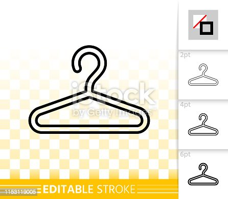 Hanger thin line icon. Outline web sign of fashion. Cloakroom linear pictogram with different stroke width. Simple vector symbol, transparent background. Hanger editable stroke icon without fill